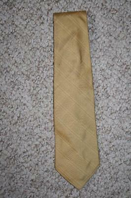 Banana Republic 100% silk yellow/gold mens men suit neck tie solid dress Italy