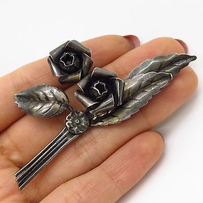 Antique 925 Sterling Silver Double Rose Floral Large Pin Brooch