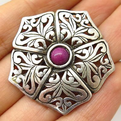 Vtg Jezlaine 925 Sterling Silver Real Rhodonite Gem Cutout Floral Pin Brooch