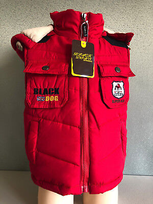 BNWT Boys Size 8 Black Dog Brand Red Polar Fleece Lined Puffer Vest With Hood