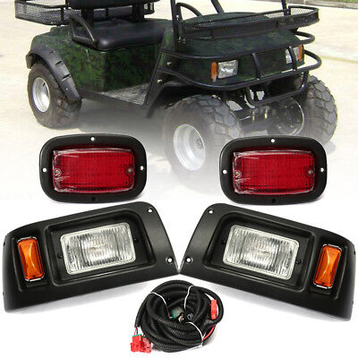 Halogen Headlight W/ LED Tail Light Lamp Kit For Club Car DS Cart 1993-UP USA