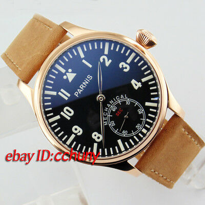 Parnis 44mm Luminous Black dial Hand Winding 6498 Mechanical Wrist Watch 2077
