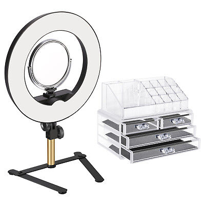 Neewer Tabletop Ring Light Makeup Kit Outer Dimmable LED Ring Light with Mirror