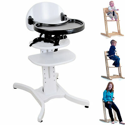 New East Coast White Curved Multi Height Wooden Highchair With Bumper Bar