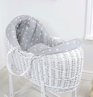 New 4Baby Grey White Stars White Wicker Baby Moses Basket / Rollover Snooze Pod