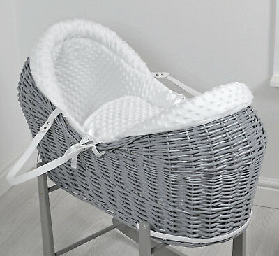 New 4Baby White Dimple Grey Wicker Baby Moses Basket / Rollover Snooze Pod