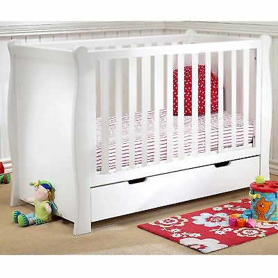 New 4Baby White Sleigh Cot Baby Cot With Under Bed Storage Drawer