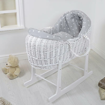 4Baby Grey White Star White Wicker Moses Basket / Rollover Snooze Pod & Stand