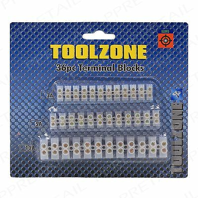 36Pc Terminal Blocks 3/5/10 AMP Assorted Strip Electrical Wire/Cable Connection