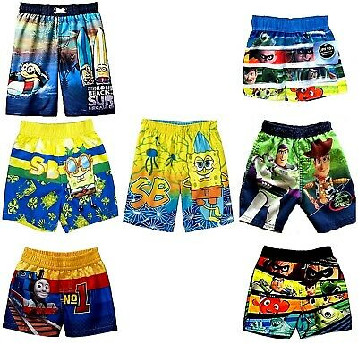 bea2dd7302439 Boys Toddler Swim Trunks Spongebob Minion Buzz Woody Dory Monster Inc  Thomas NWT