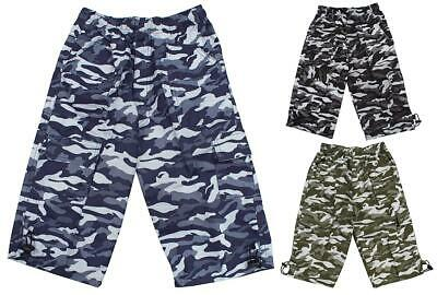 Boys 2018 Army Camo Pixel Camouflage Combat Pocket Shorts 3 to 14 Years