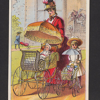 Antique 1800's Gendron Baby Carriage Buggy Doll Stroller Advertising Trade Card