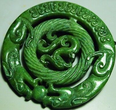 Jadeite Double-Dragon Pendant-carving yunan-china,CAR-A09,68x68x7m,205.53ct1.4oz