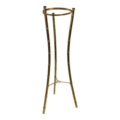 Vintage Faux Bamboo Plant Stand hollywood regency planter metal gold mid century