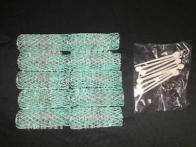 10 old style brush spring mesh hair curlers rollers pins GOODY Large green NWOP