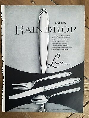1959 Lunt sterling silver flatware silverware raindrop pattern ad