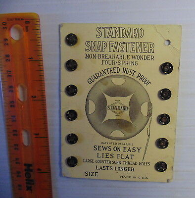 1915 Standard Snap Fasteners 11 out of 12 Original Package RARE