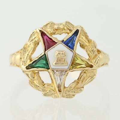 NEW Order of the Eastern Star Ring - 10k Gold Syn. Gemstones Masonic OES
