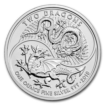 2 pound pounds Mythical Creatures Two Dragons Great Britain 1 oz Silver 2018