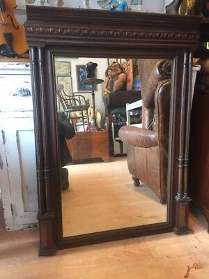 ANTIQUE FRENCH Floor Standing Mirror Wooden Overmantle Foxing FREE ...