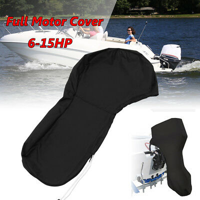 600D Black Boat Full Outboard Engine Cover For 6-15HP Motor Waterproof 43.3'' US