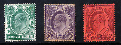 STRAITS SETTLEMENTS KE VII 1904-10 Wmk Mult Crown CA Group SG 127 to SG 129 MINT