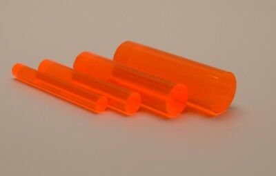 Fluorescent Orange Acrylic Perspex Rod 9.5mm, 12.7mm, 19mm & 25.4mm Diameters