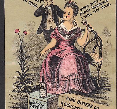 King Bitters Rochester NY 1800's Dose Cup Dude Victorian Advertising Trade Card