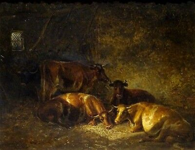 19th Century English Cattle Cows Barn Resting Oil Painting Thomas Sidney COOPER