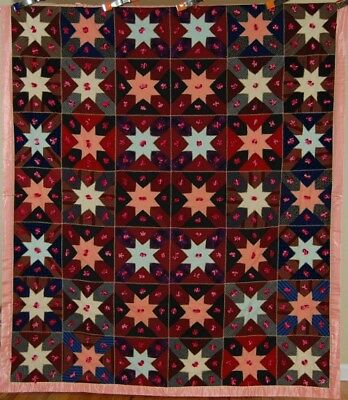 "DAZZLING Vintage 20's ""New Star"" Antique Quilt ~GREAT DESIGN & HANDSOME COLORS!"