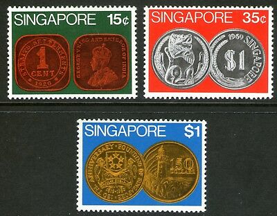 Singapore 1972 Coins set of 3 Mint Unhinged