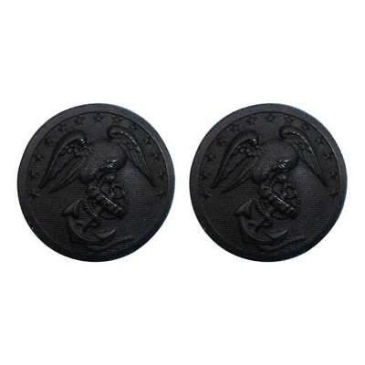 USMC Marine Corps Buttons 40 Ligne - black plastic (Made in USA)  (1 Pair)