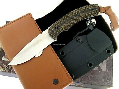 Browning Incase Leather Fixed Blade Full Tang Brown G10 Knife Ammo Belt Case