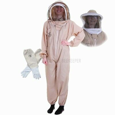 Beekeeping Khaki Suit With Fencing & Round Veil & White Gloves-Buzz Basic