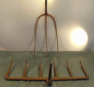 2 Primitive old metal rake heads 6 tines 3 tines country farm art repurpose it!