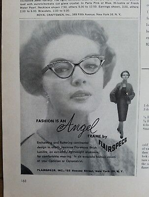 1959 angel eye glass frame by Flairspecs vintage cateye glasses ad