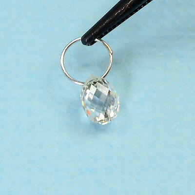 18K Solid White Gold Faceted Rose Cut Diamond Teardrop Briolette Charm FOCAL