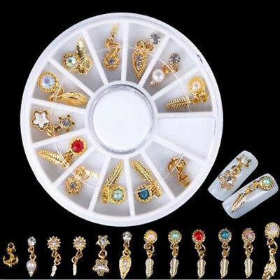 12PCS Gold Silver Rhinestone Feather 3D Metal Nail Art Decor Nail Styling Design