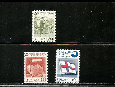 Lot 68601  Mint Nh 21 22 23   Flag Boat   Faroe Islands