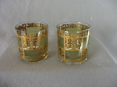 Vintage Culver Prado Green & Gold Low Ball Glass Tumblers
