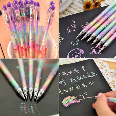 6 Colors in 1 Pen Gel Pens for Office Students Stationery Ink Pen Chalk Pen Gift