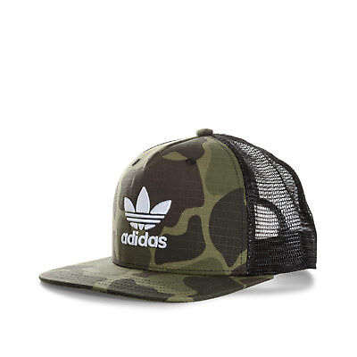 98c9e53b5ba Mens adidas Originals Camo Trucker Cap In Camo- Flat Visor- Button To Top-