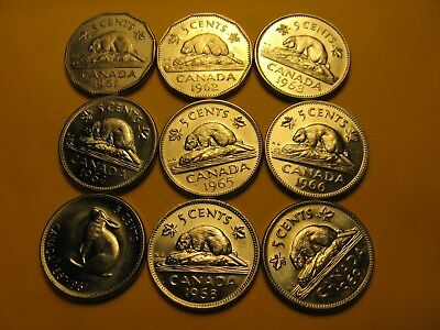 Set Of 9 BU Canada 5 Cent Coins 1961 To 1969.