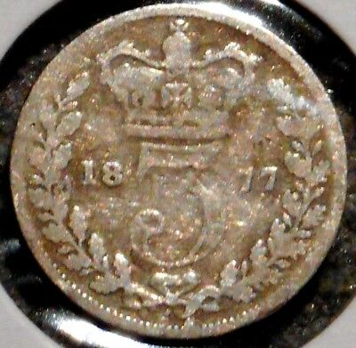 British Silver Threepence - 1877 - Queen Victoria - $1 Unlimited Ship