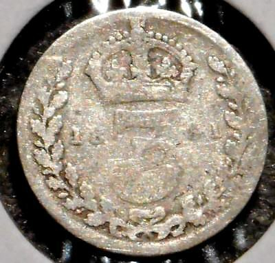 British Silver Threepence - 1891 - Queen Victoria - $1 Unlimited Ship