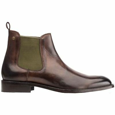 Base London Truman Cocoa Mens Burnished Leather Slip-On Chelsea Ankle Boots