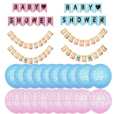 Baby Shower IT'S A Girl Boy Party Banner Bunting Balloon Table Foil Confetti NEW