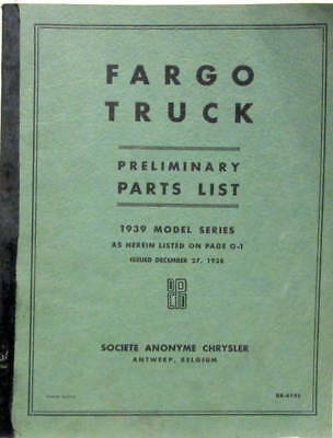 1939 Chrysler Fargo Truck Preliminary Parts List En Anglais