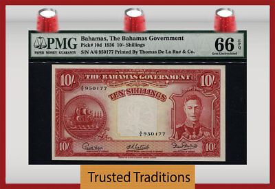 "TT PK 10d 1936 BAHAMAS 10 SHILLINGS ""KING GEORGE VI"" PMG 66 EPQ POP 2 NONE FINER"