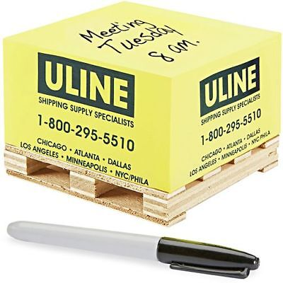 ULINE Pallet Yellow 500 Sheet Sticky Note Paper Pad on a small wooden pallet